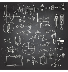Physical formulas and drawings on a chalkboard vector