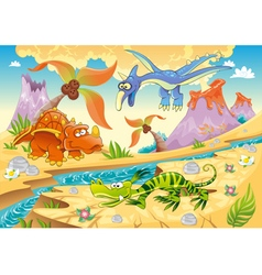 Monsters dinosaurs with prehistoric background vector