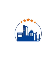 Cityscape hotel building five star logo vector