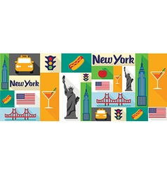 Travel and tourism icons new york vector