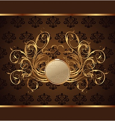 gold invitation frame vector image