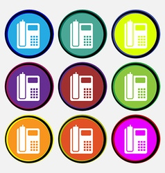 Home phone icon sign nine multi colored round vector