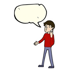 Cartoon man asking question with speech bubble vector