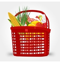 Shopping basket full of food vector