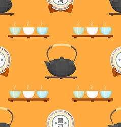 Tea puer ceremony seamless pattern vector