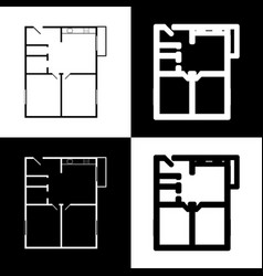 Apartment house floor plans black and vector