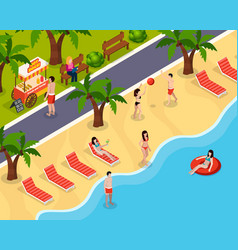 beach rest isometric composition vector image
