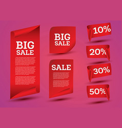 Big sale banner set ribbon vector