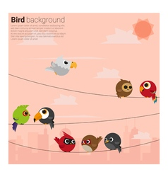 Birds on wires background vector