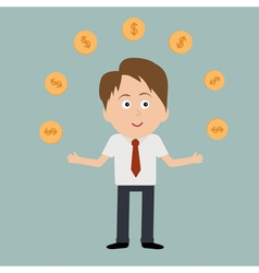 Businessman juggle with dollar coins vector
