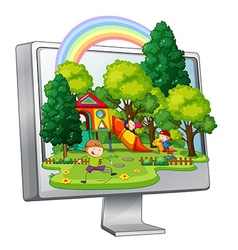 Children playing in the playground on computer vector image vector image