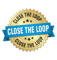 close the loop round isolated gold badge vector image vector image
