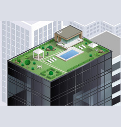 Cottage on roof of skyscraper vector