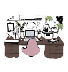 creative modern workplace with laptop hand drawn vector image vector image