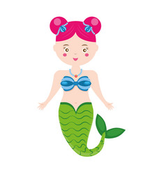 cute mermaid character in cartoon style vector image