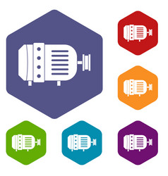 Electric motor icons set hexagon vector