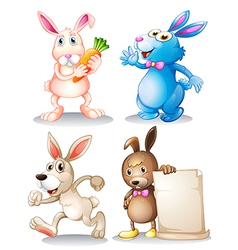 Four rabbits vector image vector image
