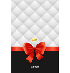 Gift card template silk ribbon bow and quilted vector