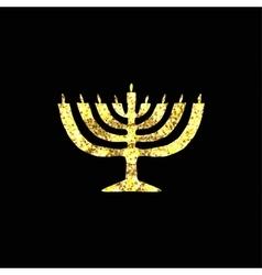 Hanukkah candleholder golden silhouette gold vector