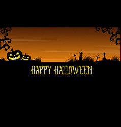 Happy halloween graveyard landscape background vector