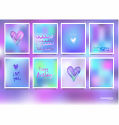 Hologram bright colorful backgrounds set vector