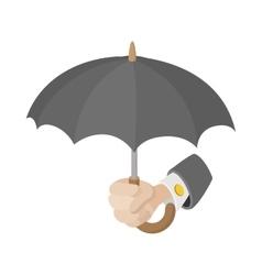 Human hand holding the umbrella icon vector