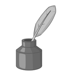 Ink with pen icon gray monochrome style vector