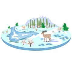 Isometric winter landscape with deer trees river vector