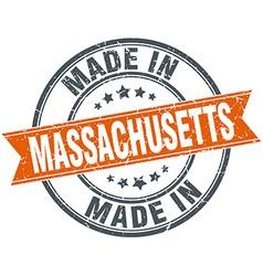Massachusetts orange grunge ribbon stamp on white vector