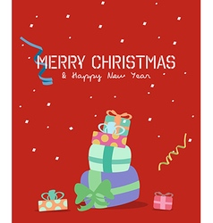Merry christmas greeting cardgift box vector