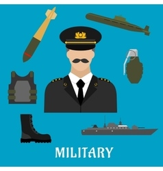 Military profession and navy flat icons vector