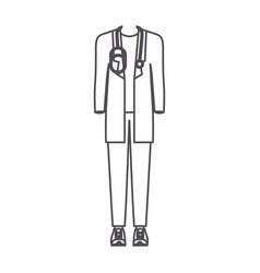 Monochrome silhouette of male doctor clothing vector