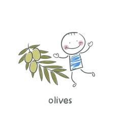 Olives and people vector image vector image