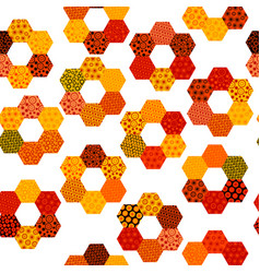 patchwork pattern with flowers made of hexagonal vector image
