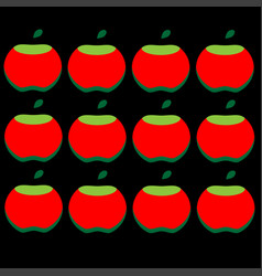 pattern of red apples on a black background vector image