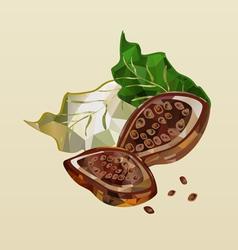 Polygonal cocoa beans vector