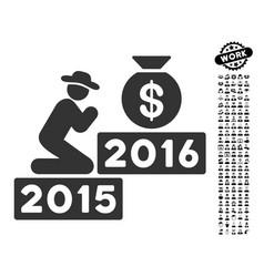 Pray for money 2016 icon with men bonus vector