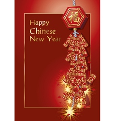 Red firecrackers on chinese new year card vector