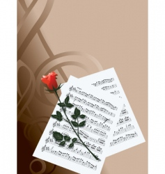 rose and music vector image vector image