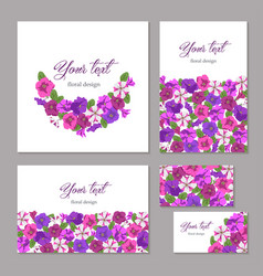 Set business template floral design vector