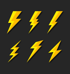 Thunder and bolt lighting flash icons set flat vector