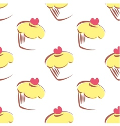 Tile pattern with lemon yellow cupcakes vector image