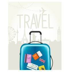 travel around the world - modern suitcase vector image
