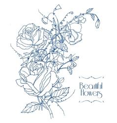 Vintage flowers sketch vector image vector image
