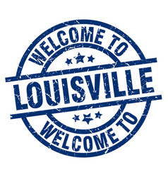 welcome to louisville blue stamp vector image vector image