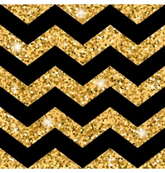 Zigzag seamless pattern Gold glitter and black vector image vector image