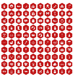 100 children icons hexagon red vector image
