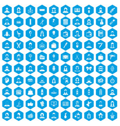 100 hairdresser icons set blue vector