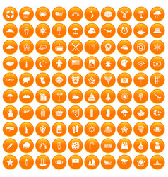 100 star icons set orange vector