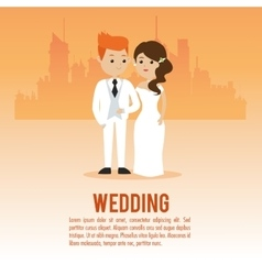 Wedding and marriage couple design vector